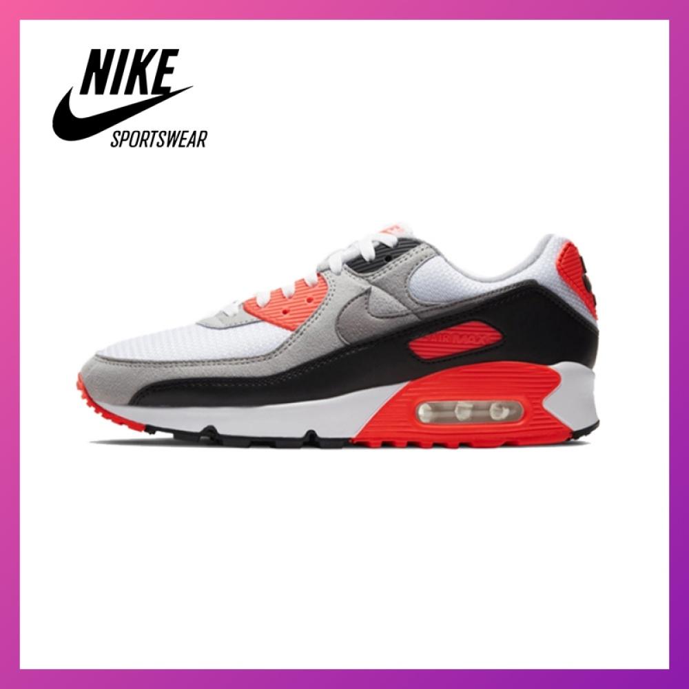 NEW ของแท้อย่างเป็นทางการNike Air Max 90 รองเท้าผู้ชาย รองเท้าสตรี รองเท้าลำลอง แฟชั่น การทำให้หมาด ๆ รองเท้ากีฬา หนังแท