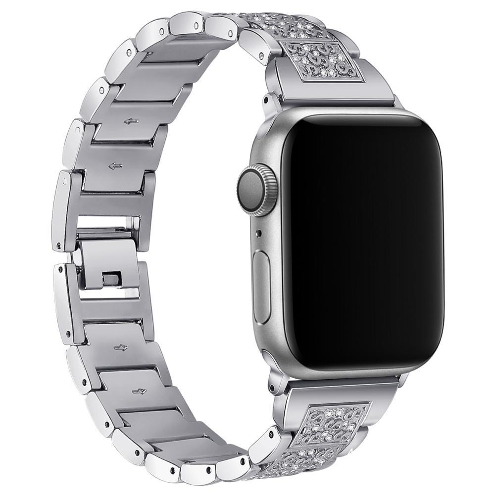 นาฬิกา Apple เหมาะสำหรับ iwatch สร้อยข้อมือเพชรสามเม็ดสาย Applewatch โลหะสแตนเลส