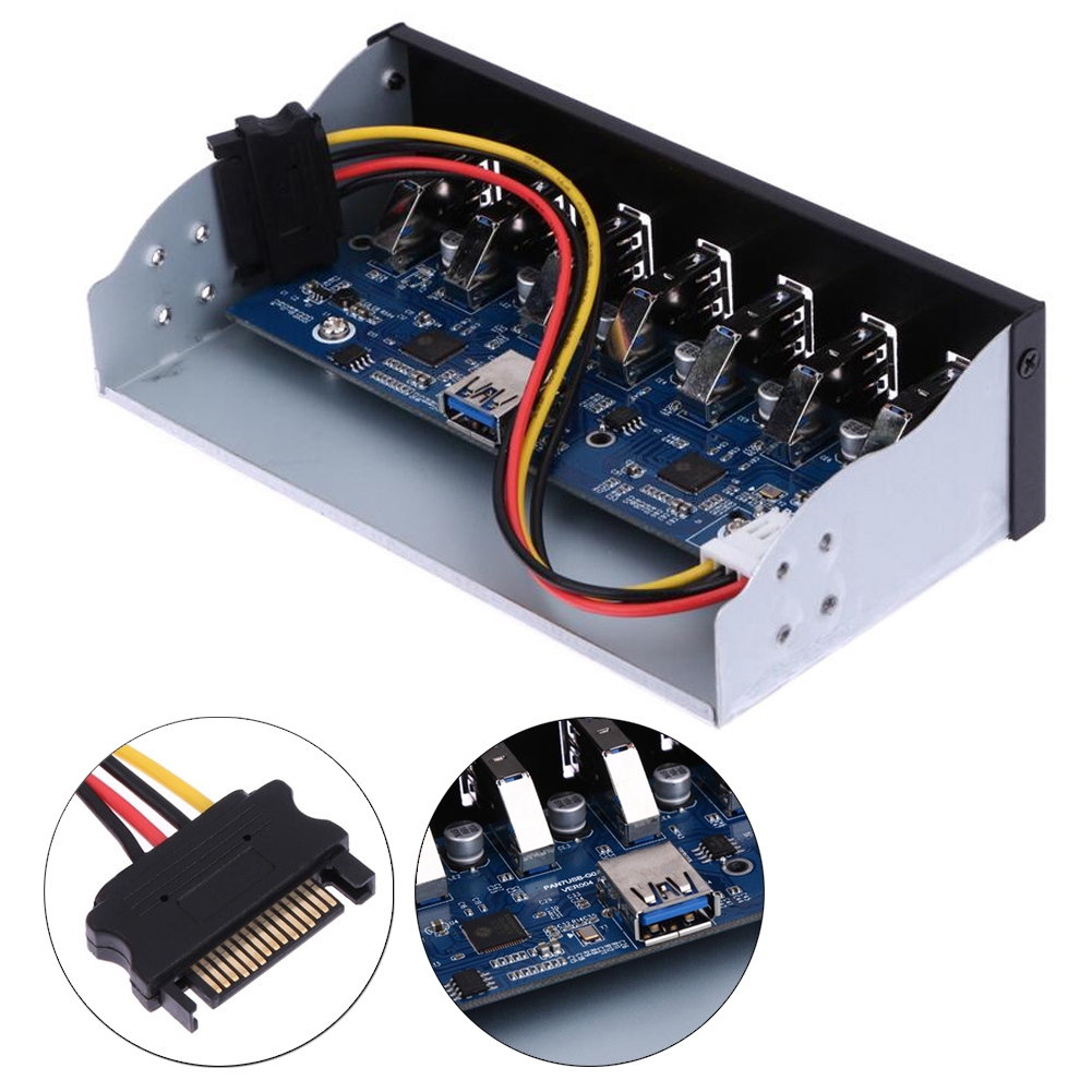 USB 3.0 7-Ports 5.25 inch Metal Front Panel USB Hub with 15 Pin SATA Power