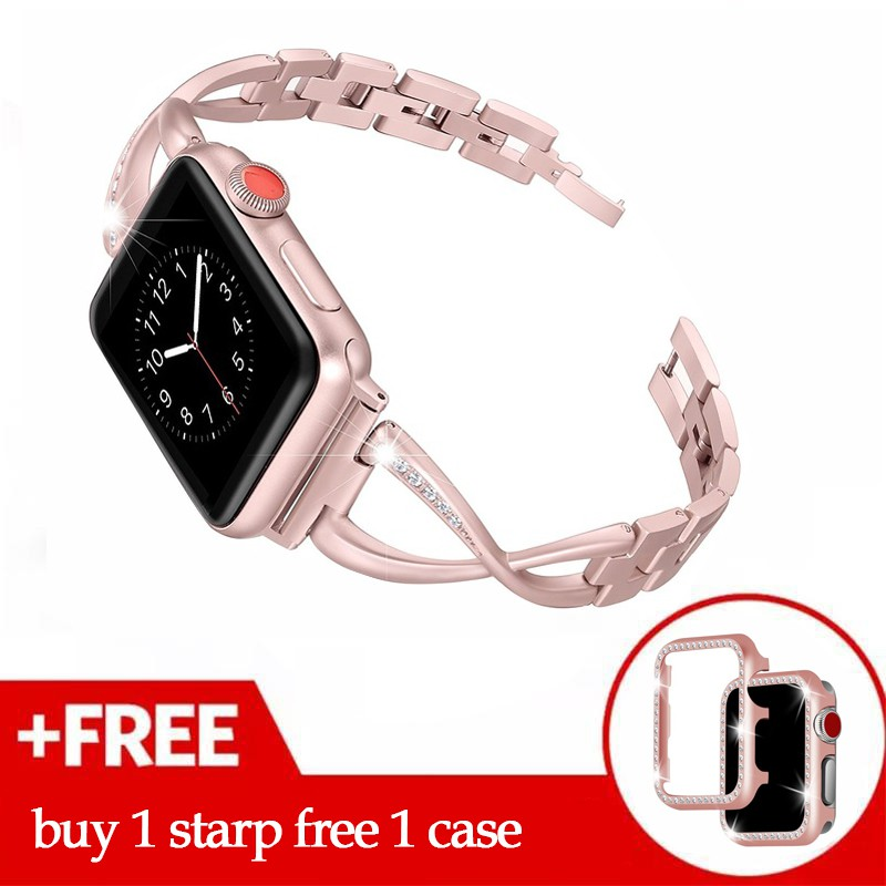 Women Watch band for Apple Watch Bands 38mm/42mm/40mm 44mm diamond Stainless Steel Strap+Diamond case