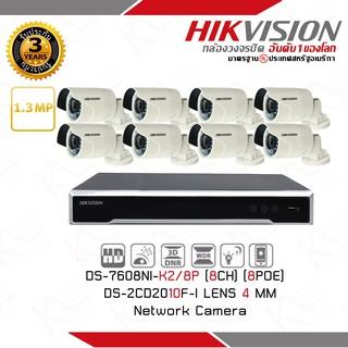 ชุดกล้องวงจรปิด ระบบ IP Camera HIKVISION DS-2CD2010F-I Mini Bullet 1.3MP พร้อมเครื่องบันทึก NVR 8 ch