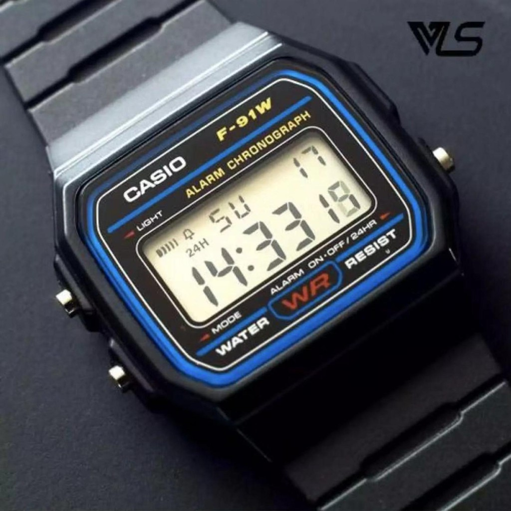 Casio นาฬิกาข้อมือผู้ชาย สายสแตนเลส รุ่น F-91W-1DG