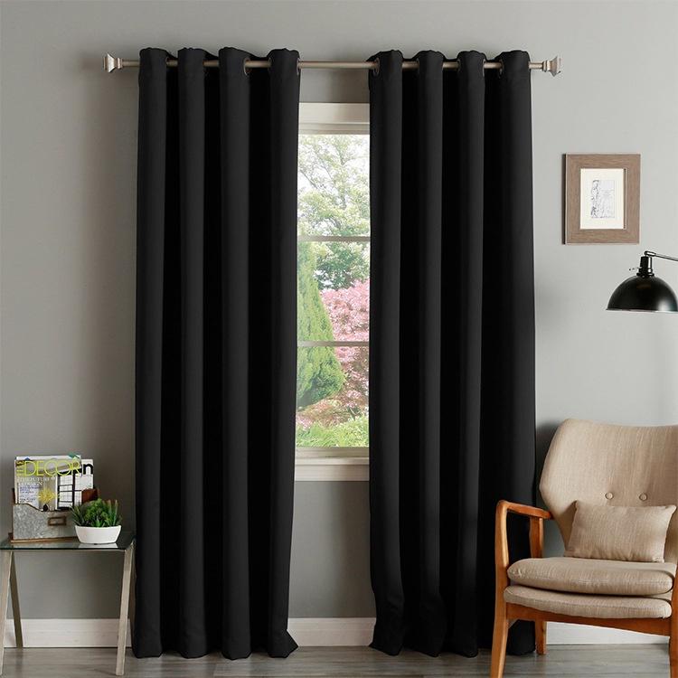 พร้อมส่ง ผ้าม่านสีพื้น ม่านหน้าต่าง ม่านประตู สีดำ ผ้าม่านสำเร็จรูป ไม่มีลาย ผ้าม่านกันแสงUv 99% ผ้าหนา