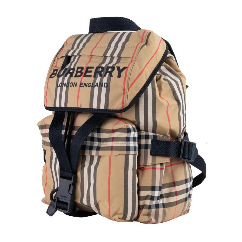 ❅≊กระเป๋ากีฬากระเป๋าเดินทางกระเป๋ากีฬาคาดเอวBURBERRY/Burberryลำลองคลาสสิกลายสก๊อตdrawstringกระเป๋าเป้สะพายหลังกระเป๋าเป้