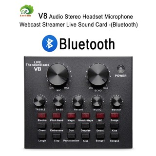 V8 Audio Stereo Headset Microphone Webcast Streamer Live Sound Card(Bluetooth)V8 BT USBเสียงชุดหูฟังไมโครโฟน