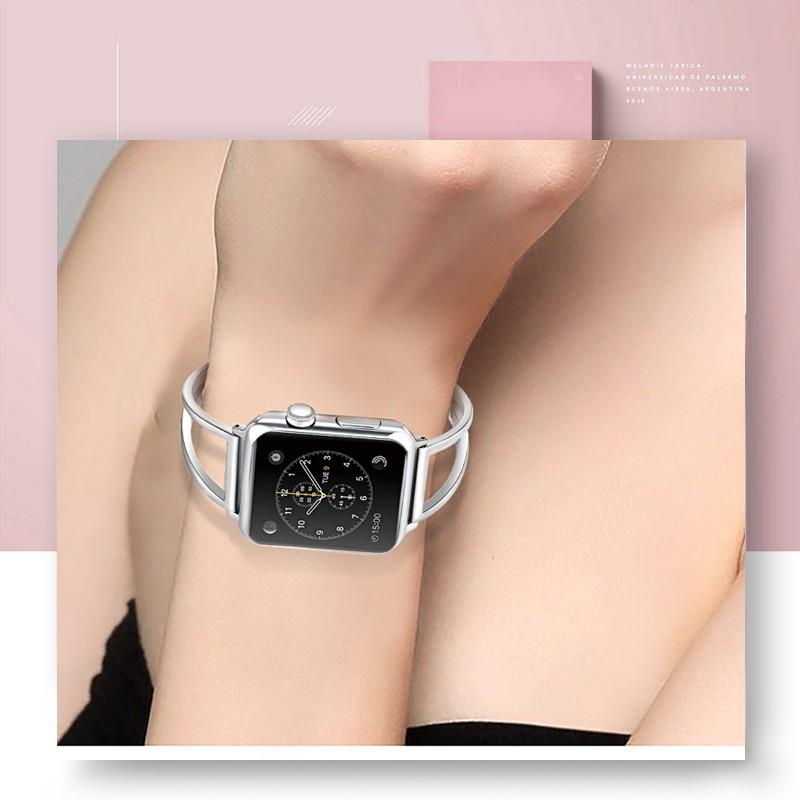 ✒✺۞สำหรับ Apple Watch 4/5/6 หมายถึง iwatch5/4/3/ กับสาว 2/1 สายนาฬิกา Applewatch โลหะสแตนเลสกลวง iPhone Watch Series รุ่