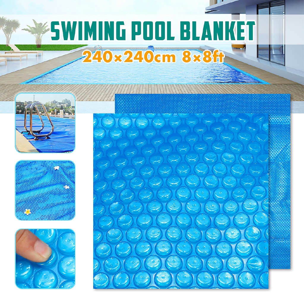 8x8ft Square Solar Swimming Cover 400μm Pool Hot Tub Outdoor Blanket