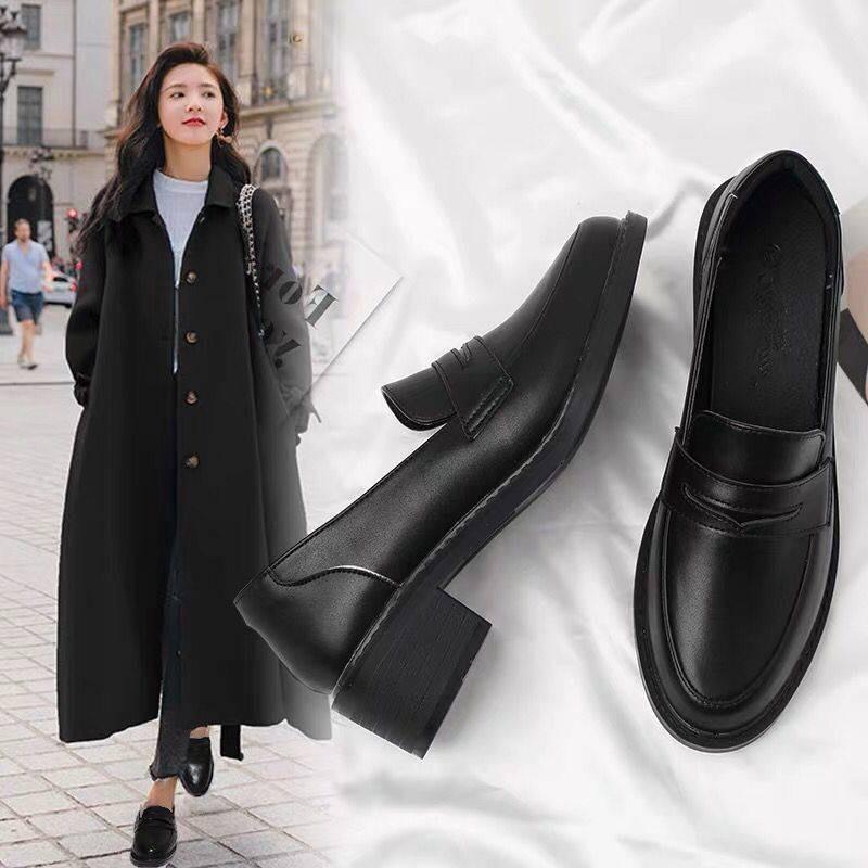 รองเท้าผู้หญิง รองเท้าคัชชู ☉ฤดูใบไม้ผลิใหม่รองเท้าหนังขนาดเล็กหญิงอังกฤษปานกลางหนากับรองเท้า Lefu สีดำป่ารองเท้าเดียวรอ