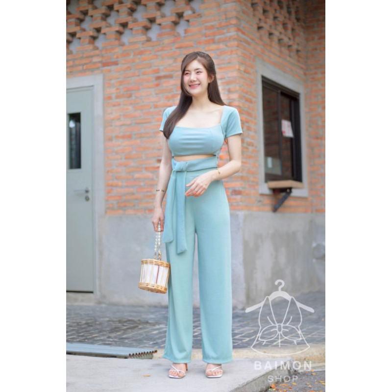 ? SpinnyHouse ? ชุดเซท เสื้อผูกเอว + กางเกง เสื้อครอป คอเหลี่ยม + กางเกงขายาว ผ้าร่องนุ่มมากๆ เสื้อคอเหลี่ยม ? k11