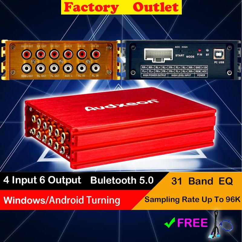 Audxeon d1640 6 channel dsp+amp เครื่องขยายเสียงรถยนต์ dsp 31 band eq สีดํา 4 tuning