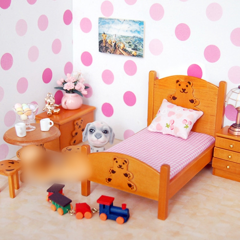 6pcs/Set Mini Furniture Baby Doll Bedroom Cute Bear For 1:12 Dollhouse  Decor New