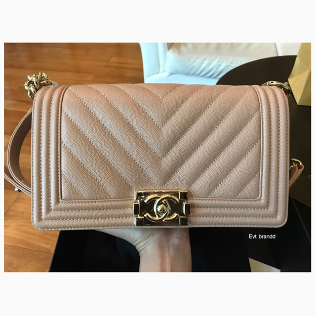 "Kept unused chanel boy 10"" chevron beige caviar HL 25 fullset"