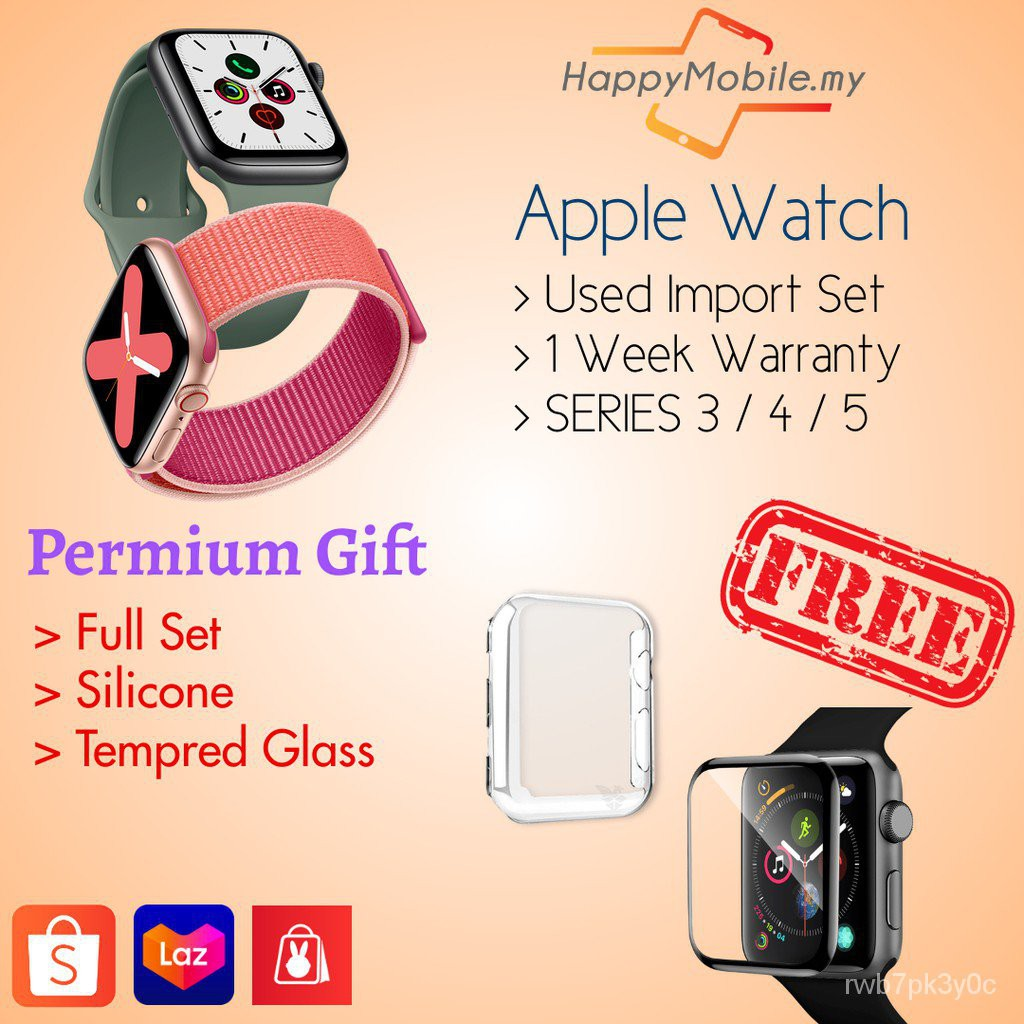 LEfn USED 100% Original applewatch Series 3/4/5 LTE/GPS 38/40mm 42/44mm 2Free Gift(Ready Stock)