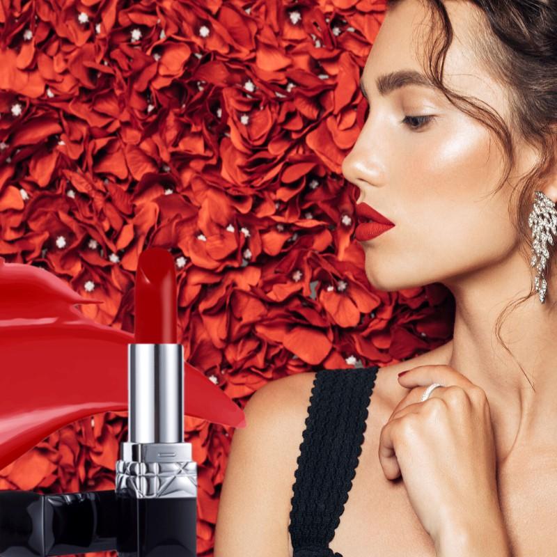 การเปิดตัวใหม่ของ Kano Dior lipstick lipstick moisturizing 999 matte big watch ชุดกล่องของขวัญกุหลาบสุดประณีต