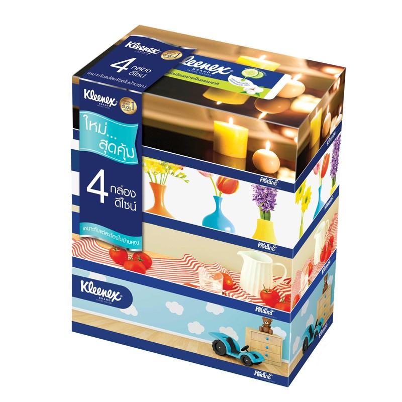 ❉◐☸Kleenex กระดาษทิชชู่เช็ดหน้า รูมดีไซน์ แบบกล่อง 110 แผ่น รวม 4 กล่อง