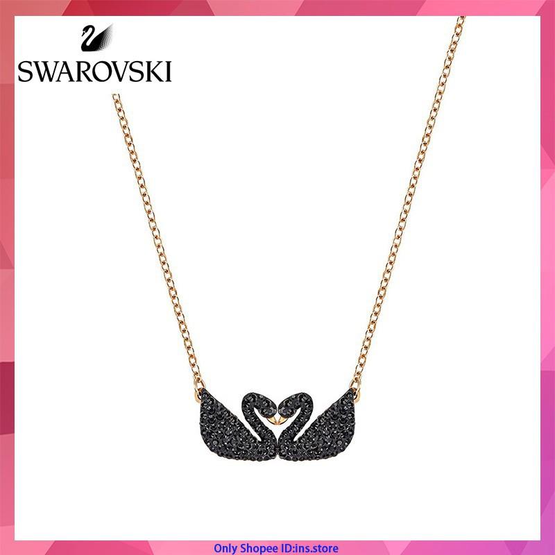 พร้อมส่ง【100%Original】Swarovski คริสตัล สร้อยคอหญิงแฟชั่น โรสโกลด์ หงส์ดำ สร้อยคอ จี้ สร้อยคอโซ่ New Fashion Women Chain