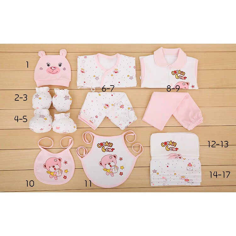 New Born Baby Gift Set 17 pcs ชุดของขวัญเด็กแรกเกิด 17 ชิ้น ชุดเด็กแรกเกิด เสื้อผ้าเด็กแรกเกิด Sinthongshop