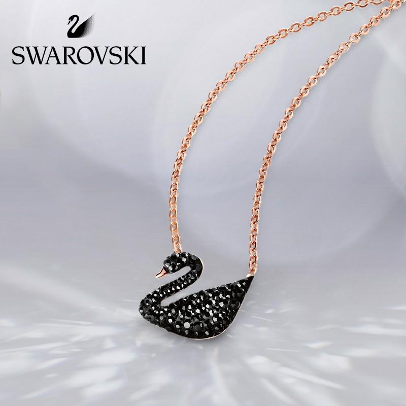 Swarovski สร้อยคอจี้หงส์ดําประดับคริสตัลหรูหรา