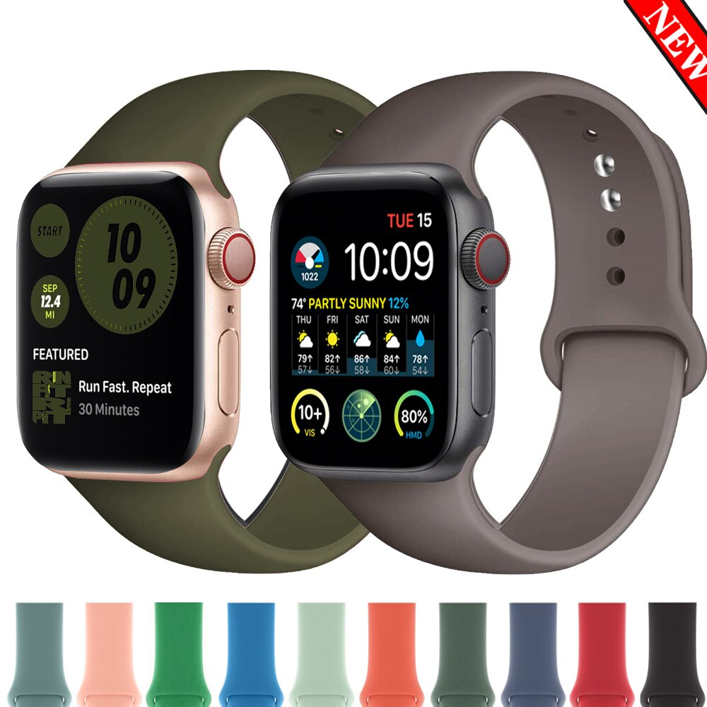 Silicone Strap For Apple Watch band 44mm 42mm 40mm 38mm Sports watchband bracelet iWatch for apple watch series 6 SE 5 4