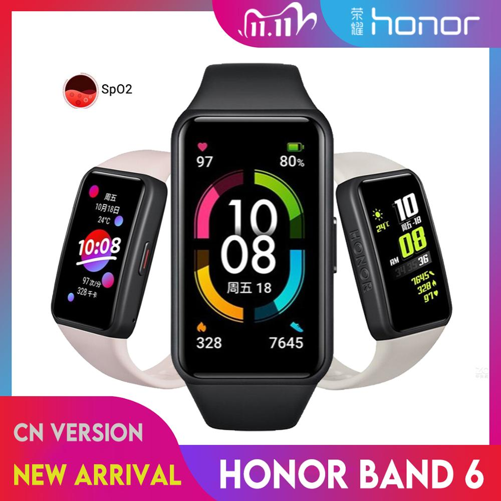 "Newest Huawei Honor Band 6 Smart Wristband 1st Full Screen 1.47"" AMOLED Color Touchscreen SpO2 Swim Heart Rate Sleep Nap Stress"