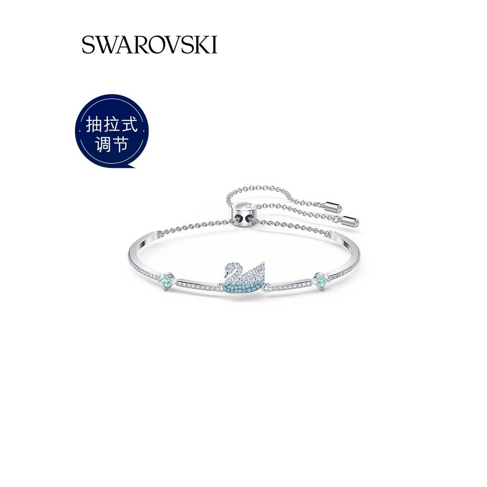 Swarovskiสีฟ้าหงส์ ICONIC SWAN สร้อยข้อมือผู้หญิงคลาสสิกสดและสง่างาม 7t59