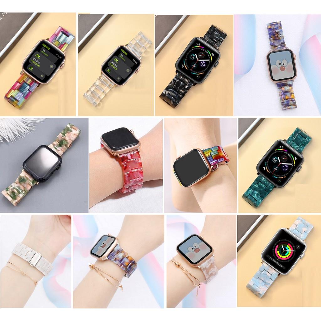 ♕❍△สายนาฬิกา Apple Watch Resin Straps เรซิน สาย Applewatch Series 6 5 4 3 2 1,  Apple Watch SE Stainless Steel สายนาฬิกา