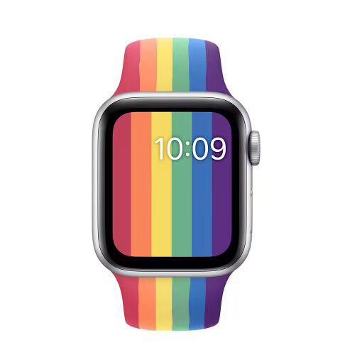 เหมาะสำหรับ Apple Watch Series 5/4/3/2/1 สายนาฬิกาสาย applewatch สีรุ้ง FubH