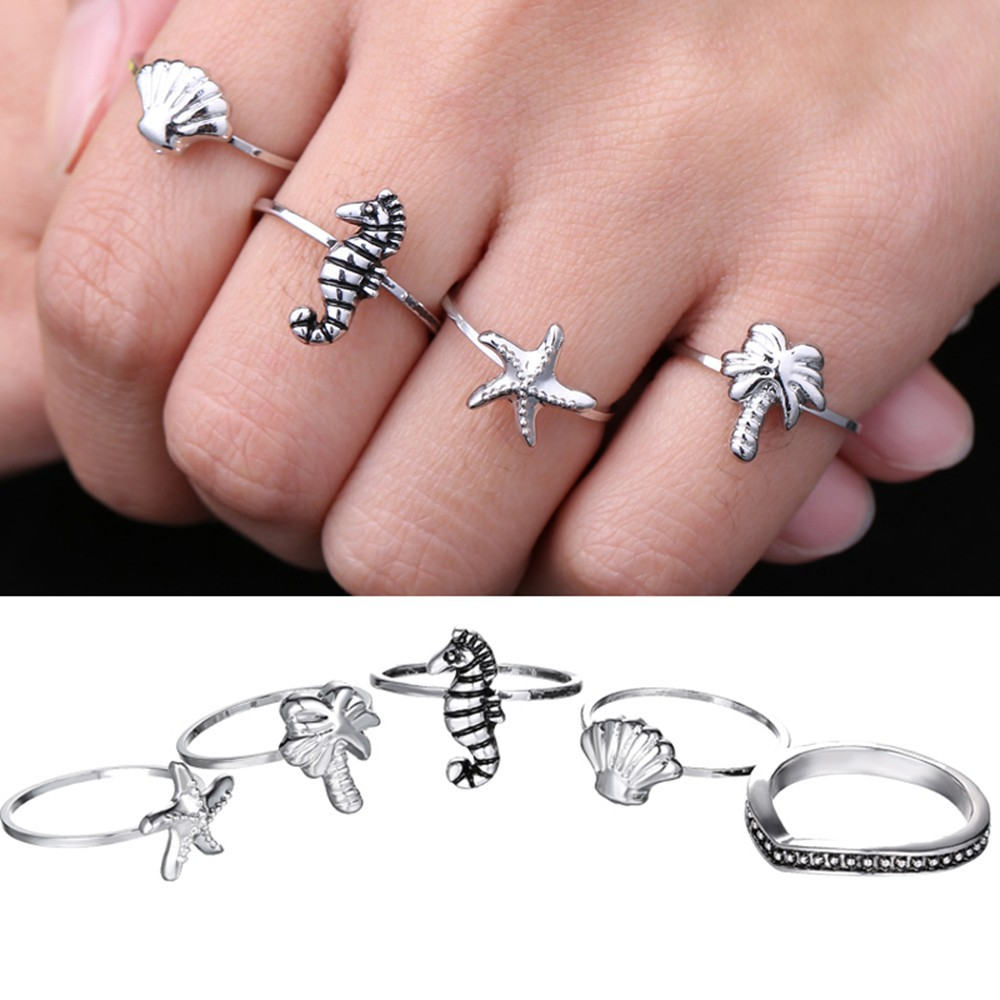 Hollow Beach Mid Index Finger Rings Love Heart Owl Ring Set Carved ...