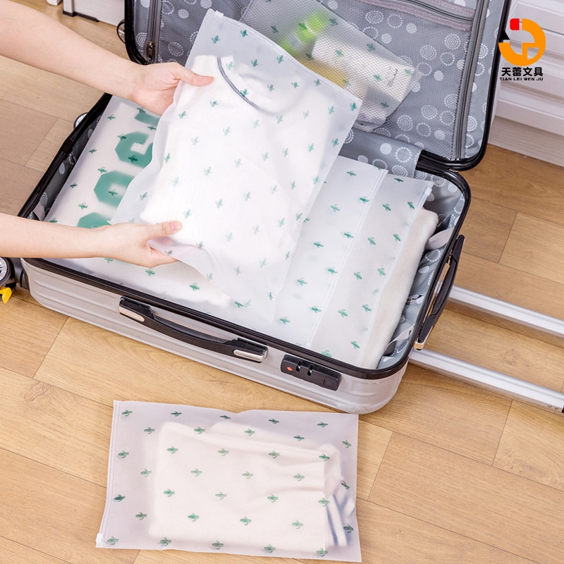 "Cactus type transparent frosted waterproof travel storage bag 5 specifications Thickened zipper bag Clothes transparent airtight bag Enlarged airtight pull buckle Distributed bag Clothes quilt storage bag ""Tianlei Stationery"""