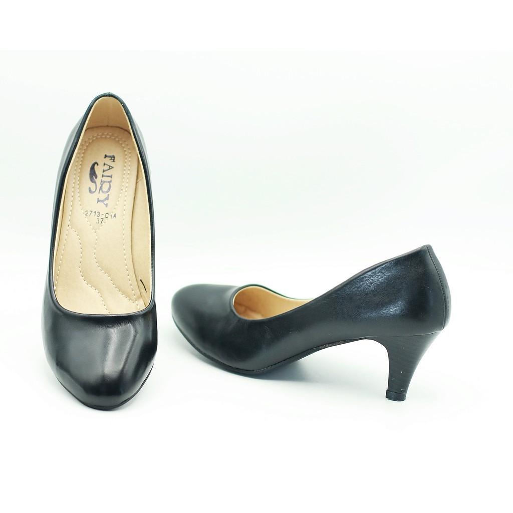 รองเท้า 2713 รองเท้าผู้หญิง รองเท้าคัชชู ส้นสูง สีดำ นักศึกษา รองเท้าส้นสูง 2.4นิ้ว FAIRY รุ่น