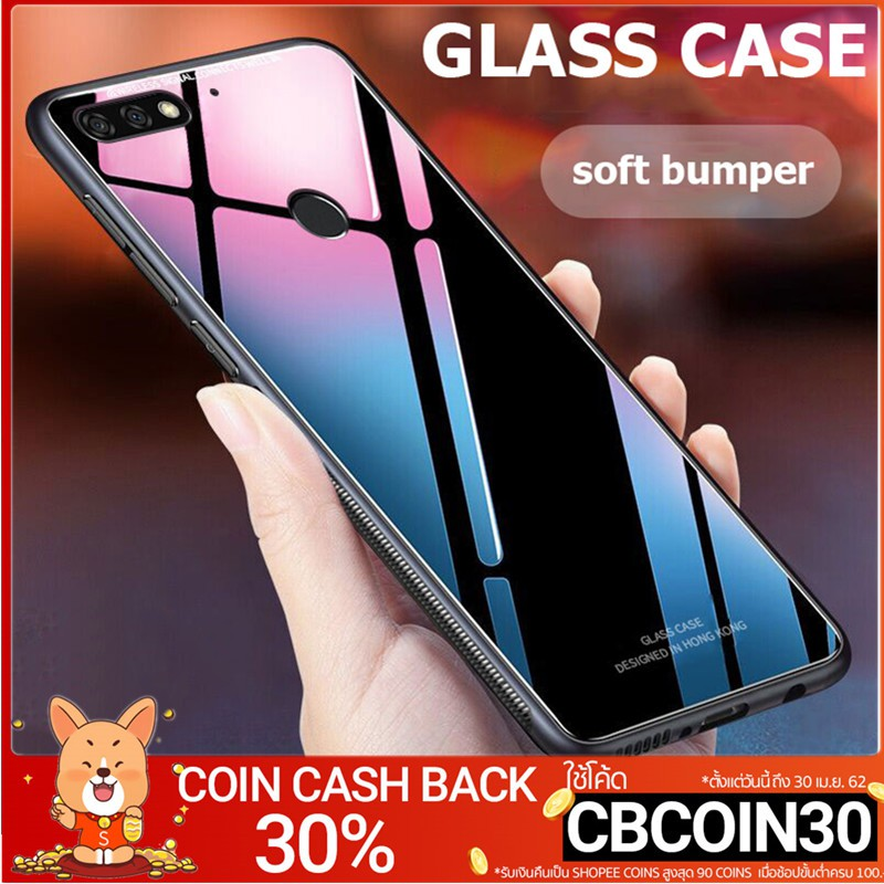 Huawei Y9 [2018] 2019 Y7 Pro 2018เคส Case【Rear Tempered Glass Protection】+  Soft Edge Slim Shockproof Cover