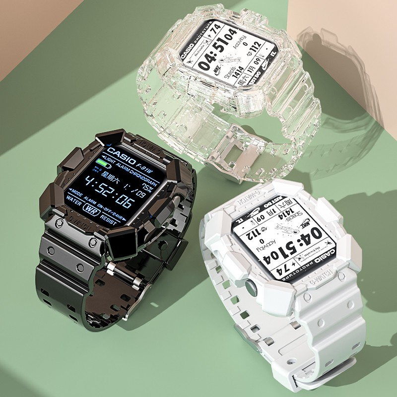 ✆◐สำหรับ iwatch6 สายนาฬิกา Apple Applewatch5 / 6 SE Generation 3/4/2 Creative Case One Strap 44mm 42/40 38 ชายและหญิงกีฬ