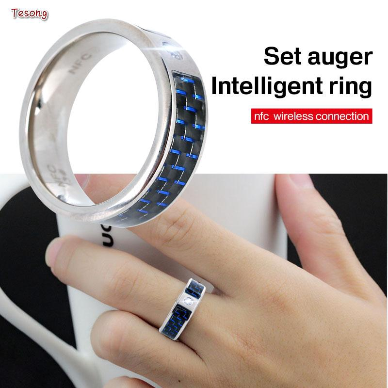 SONG Android NFC Smart Ring Carbon Fiber Blue Message Push Jewelry Fashion