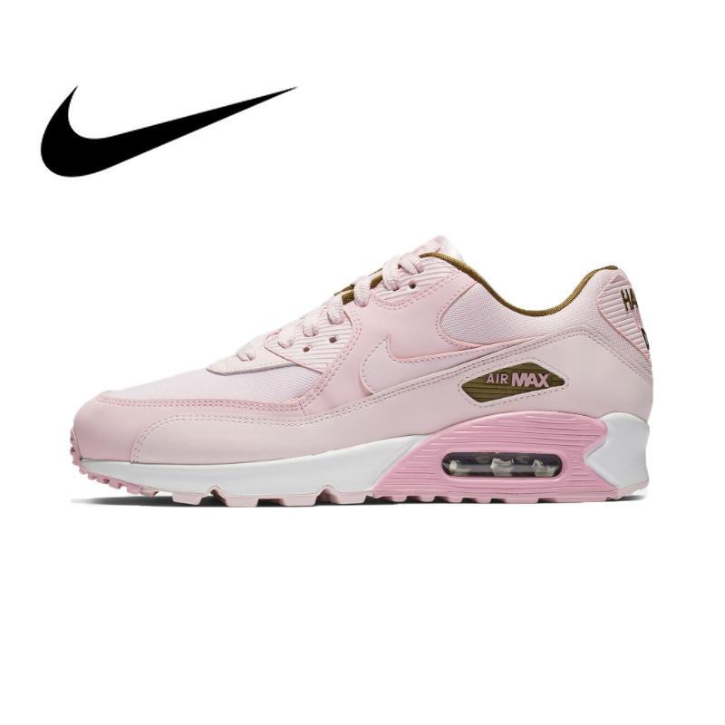 แท้จริง Nike_AIR_Max_90 SE รองเท้าผ้าใบ สีชมพู