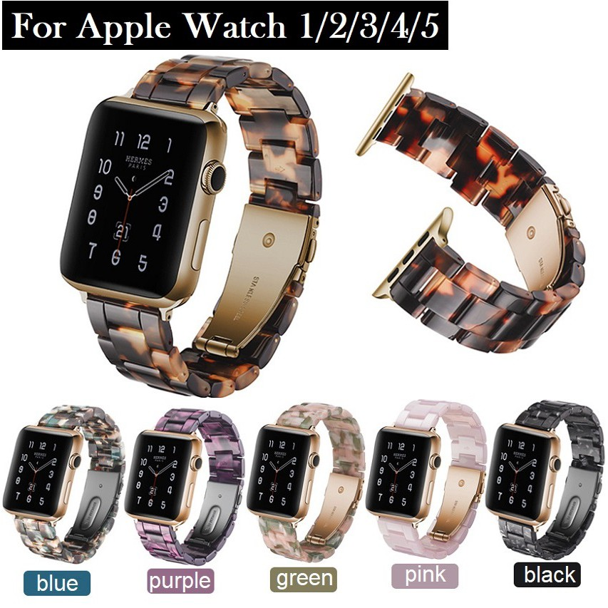 สายนาฬิกา Apple Watch Resin Straps เรซิน สาย Applewatch Series 6 5 4 3 2 1,  Apple Watch SE Stainless Steel สายนาฬิกาข้อมือ for apple watch Series6, Series5,Series4 ,Series3, Series2 Watch band iwatch size 38mm 40mm 42mm 44mm