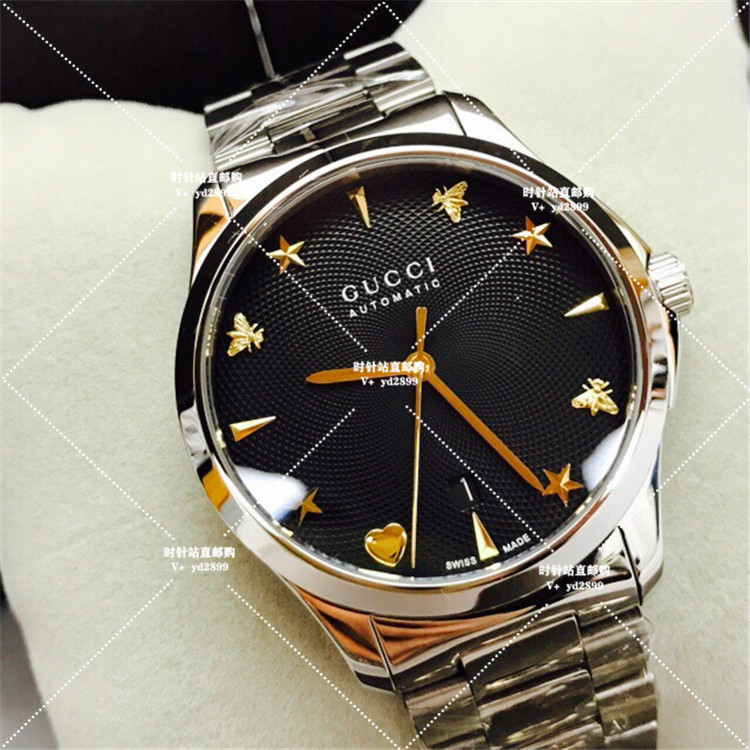 ≕♥สายนาฬิกา applewatchสายนาฬิกา gshockสายนาฬิกา smartwatchส่วนลดGucci Gucciนาฬิกาผึ้งน้อยแผ่นสีดำอัตโนมัติกลไกเหล็กเข็มข