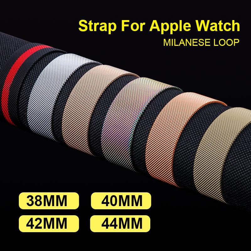 New Milanese Loop Watch Band สำหรับสายนาฬิกา Apple สำหรับ iwatch Series 5/4/3/2/1 สร้อยข้อมือสแตนเลส 44mm/40mm 42mm/38mm