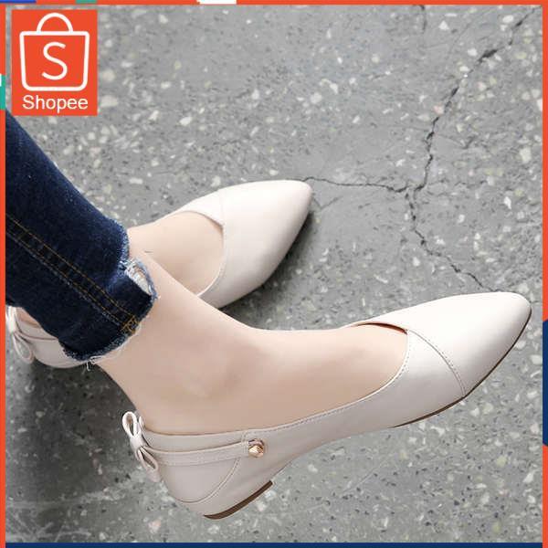 รองเท้าคัชชู ใส่สบาย สำหรับผู้หญิง รุ่นสีเรียบใส่ทำงาน เคาน์เตอร์หนังป่าตื้นปากแหลมรองเท้าหนังนุ่มรองเท้าผู้หญิงฤดูร้อนร