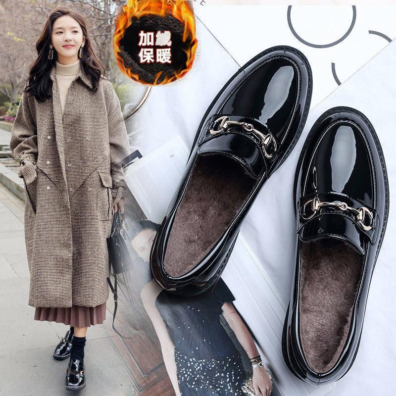 ร้องเท้า รองเท้าคัชชู รองเท้าผู้หญิง ▲รองเท้าเดียวหญิง 2021 ใหม่ JK รองเท้าหญิงฤดูหนาวอังกฤษลมรองเท้าหนังขนาดเล็กเด็กนัก