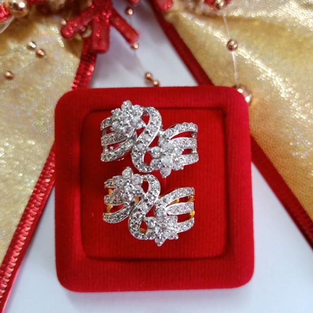 แหวน เพชร cz ดอกไม้ไขว้ ชุบทองไมครอน และทองคำขาว ราคาพิเศษ