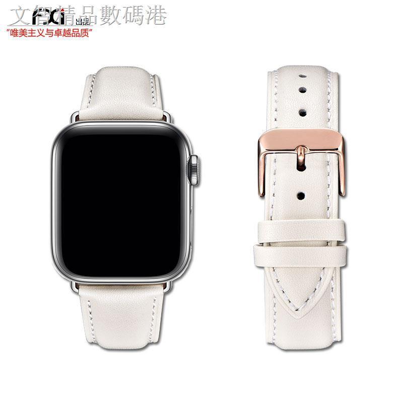 สายนาฬิกาข้อมือหนังสีเบจสีขาวสําหรับ Applewatch Applewatch