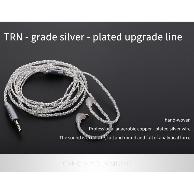 TRN V10 V20 MMCX 2Pin 0.75mm 0.78mm Upgraded Plated Silver สาย เคเบิล