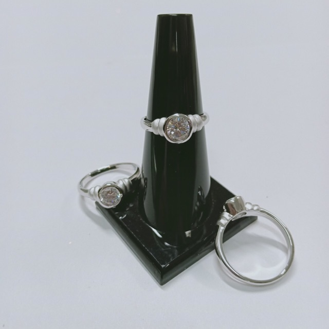 แหวน เพชร cz ทรงกลม ชุบซาติน ทองคำขาว ราคาพิเศษ