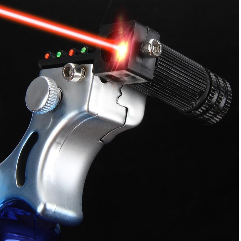 หนังสติ๊ก หนังสะติ๊ก หนังกะติ๊กยิงลูกเหล็ก พร้อมเลเซอร์เล็งเป้าอย่างแม่นยำ Slingshot with laser aiming precision