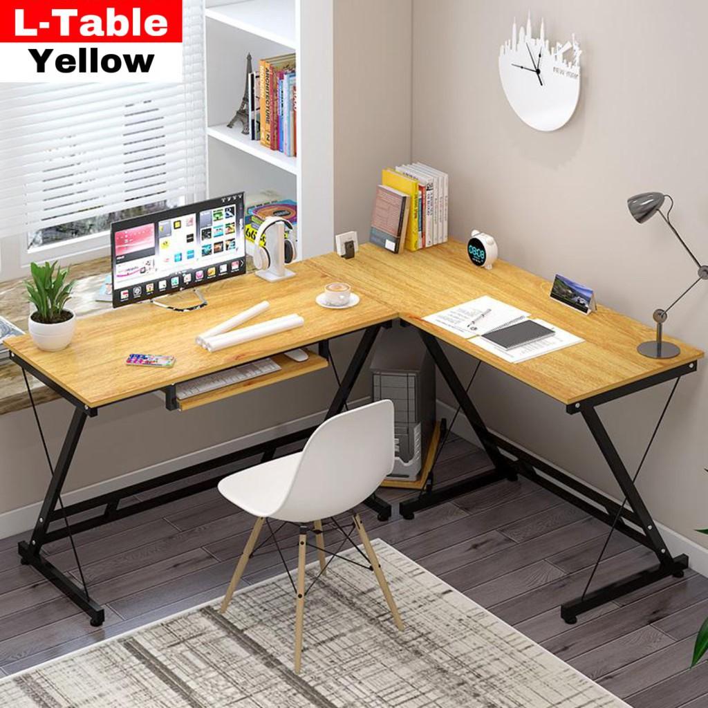 ❉🔥12.12 Super Sale🔥HomePro+ โต๊ะทำงานไม้ เข้ามุม รูปตัว L ที่วางคีย์บอร์ด 110-120x48x73CM โต๊ะคอม โต๊ะไม้ โต๊ะทำงาน โ