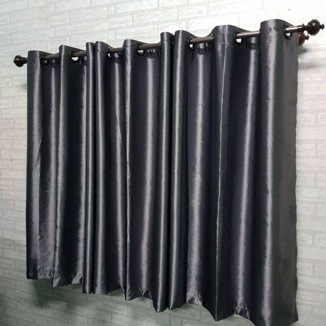 พร้อมส่ง ผ้าม่านสีเทา ผ้าม่านกันแสง สำเร็จรูปกันแดด ผ้าม่านประตู ผ้าม่านหน้าต่าง