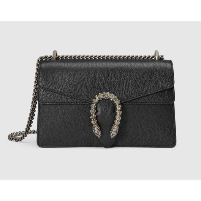 [XD]ของแท้ GUCCI 400249 สีดำ Dionysus กระเป๋า GG Dionysus ขนาดเล็กหนังเต็ม + กระเป๋าโซ่คู่พลอยกระเป๋าสะ