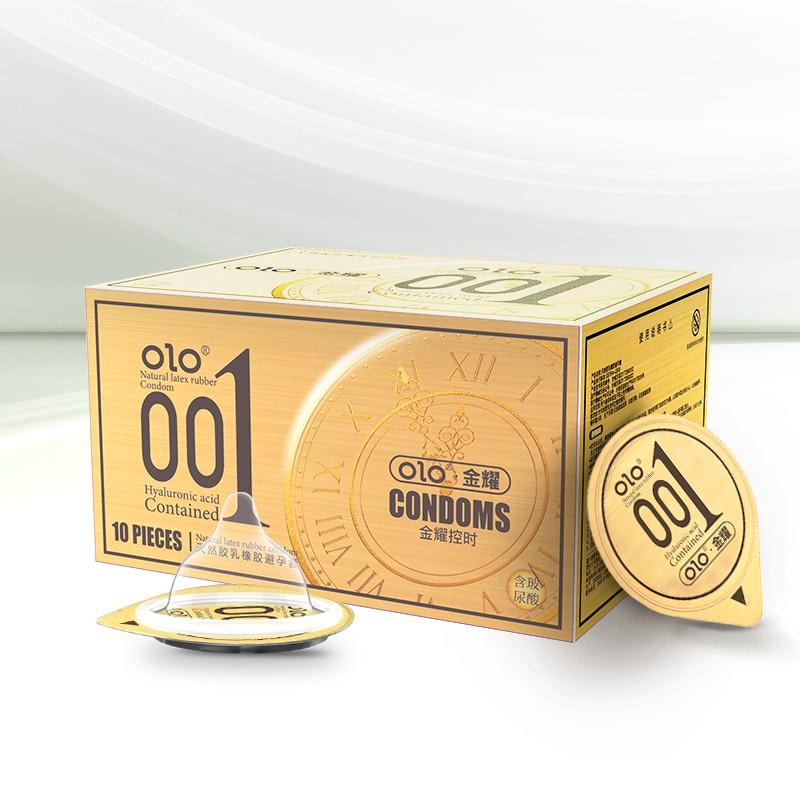 ถุงยางอนามัย Olo มีให้เลือก 8 สี (10 ชิ้น / 1 กล่อง) ขนาดบางเฉียบ 0.01 มม. ** ไม่ได้ระบุชื่อผลิตภัณฑ์ในหีบห่อ **