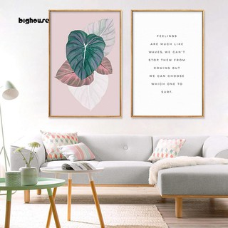 Bighouse Nordic Letters Leaves Wall Art Poster Canvas Painting Living Room Home Decor