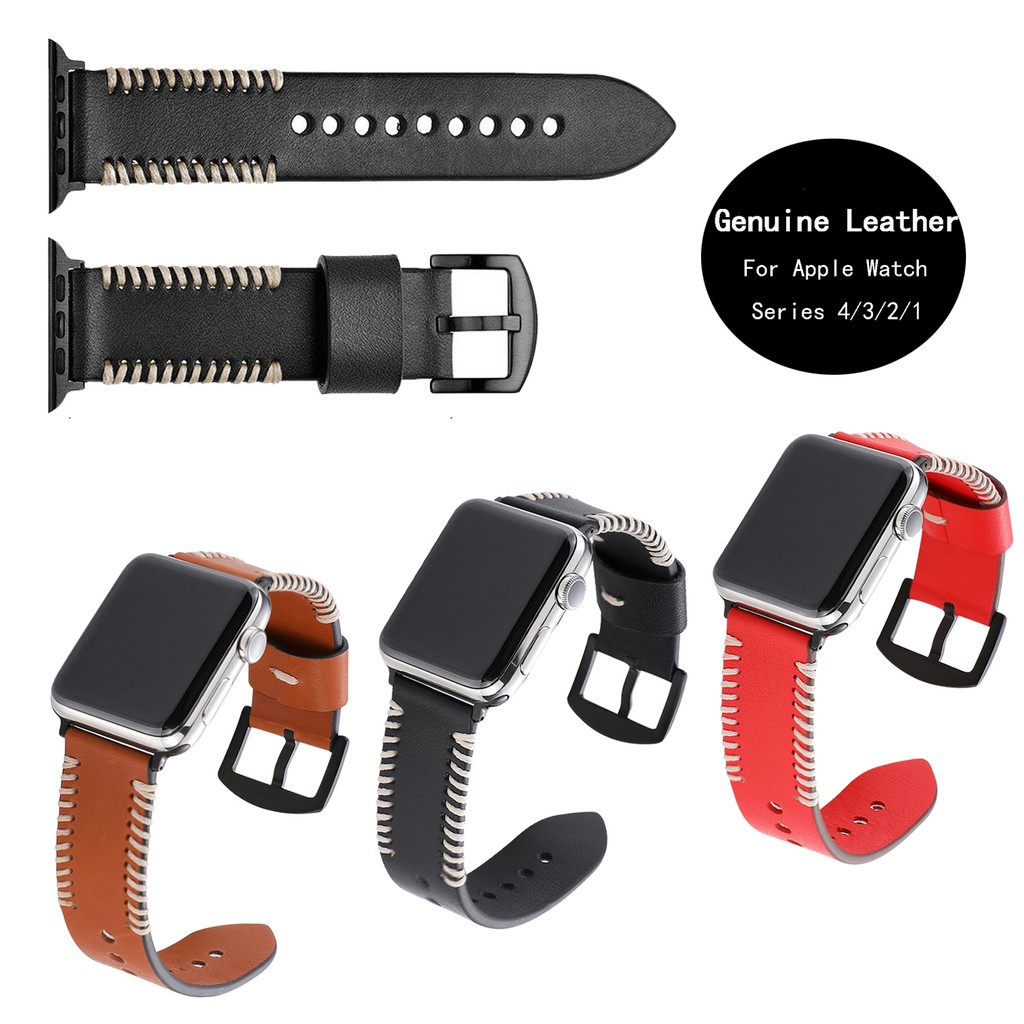 สายนาฬิกาวินเทจทำด้วยมือหนังแท้พร้อมสแตนเลสสตีลสีดำสำหรับ Apple Watch Series 6/5/4/3/2/1/SE 38mm 40mm 42mm 44mm